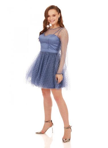 6ixty8ight İndigo Tül Glitterli Uzun Kollu Abiye Elbise İndigo